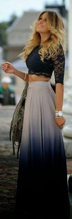 Crop top maxi skirt dress