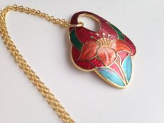 Cloisonne pendant necklace, red cloisonne pendant necklace, cloisonné necklace…