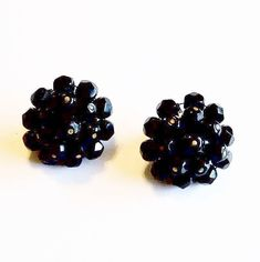 In my #etsy shop: Earrings Black Glass Beads Clip On Backs Vintage Wedding Jewelry Jewellery Cluster Earrings Gift Guide Women Mid Century Cottage Chic http://etsy.me/2DxNapn #jewelry #earrings #blackglassbeads #clusterearrings #clipearrings #vintageearrings