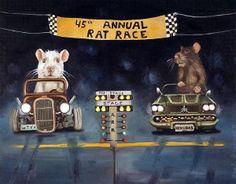 """""""Rat Race"""" Rats racing old cars"""