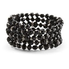 Jet Coil Bracelet ($44) ❤ liked on Polyvore featuring jewelry, bracelets, accessories, black, bijoux, glitter jewelry, white house black market, beaded jewelry, beaded bangles and pave bangle