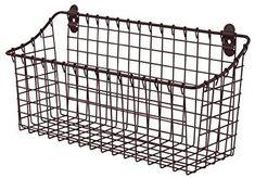 Spectrum Diversified Vintage Extra Large Cabinet & Wall-Mounted Basket for Storage & Organization Rustic Farmhouse Decor, Sturdy Steel Wire Storage Bin, Bronze