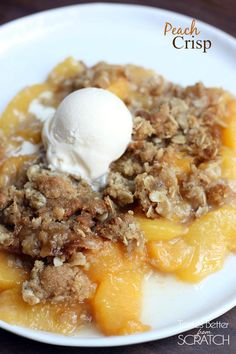 The BEST (and easiest!) Peach Crisp recipe from TastesBetterFromScratch.com