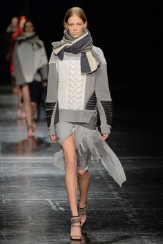 Prabal Gurung Fall 2014 Ready-to-Wear - Multi-textured knit sweater w/ this flowy wrapped skirt. Amazing!