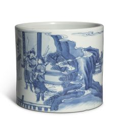 A BLUE AND WHITE BRUSHPOT  QING DYNASTY, KANGXI PERIOD