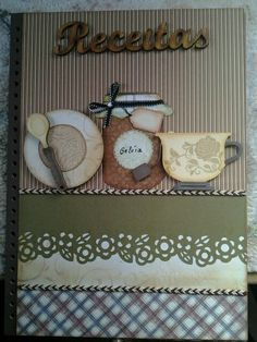 Caderno de receitas Scrapbook Recipe Book, Handmade Books, Handmade Gifts, Small Sewing Projects, Home Economics, Scrapbook Albums, Holidays And Events, Decoupage, Diy And Crafts