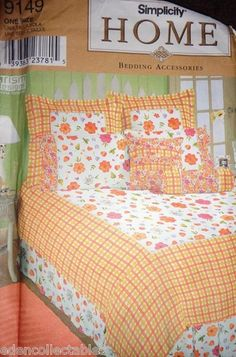 Sewing Pattern Bedding Accessories Full Twin Size Duvet Cover Dust Ruffle Pillow | eBay