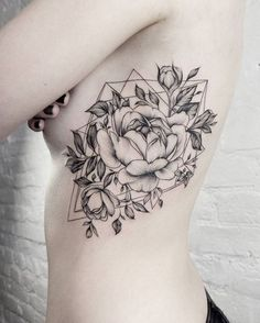 Peony Tattoo on rib