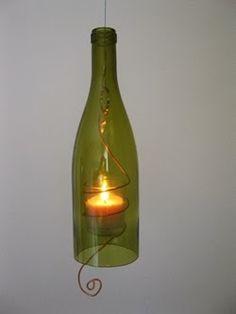 Abajur e luminárias feitas com garrafas    Reciclando garrafas de vidro