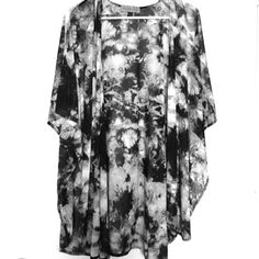 Long, Sheer, Batwing Style Cardigan Black & white splotch-like design • Very soft and sheer • 95% Polyester, 5% Spandex • Batwing style sleeves and slitted sides • Very loose-fitting, longer length style • Never been worn, tag still attached • Size is small, though seems to be more like medium/large **Last picture is for example only. This listing is for the black/white one** Sugar High Tops