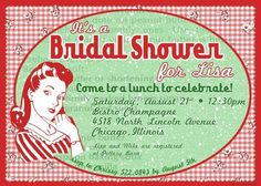 Nifty 50's Bridal Shower, Baby Shower, Birthday Party Invitations