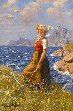 Hans Dahl, (Norwegian, 1849-1937), Maid with Scythe, 1899