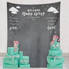 This custom baby shower backdrop is such a cute idea for baby showers! This can be used as a photo backdrop where you and the new mom and take instagrams and photos to post and remember this special day by! This decor item is a easy but beautiful way to spruce up a baby shower! Baby shower decor, step and repeat banners, baby shower photo booth ideas, baby shower decor ideas.