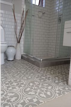 Beautiful bathroom using Hadeda Encaustic Cement Tiles. I love this!