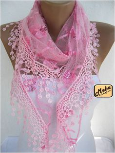 ON SALE Triangular Lace Scarf  Shawl Scarf Cowl by MebaDesign, $17.90