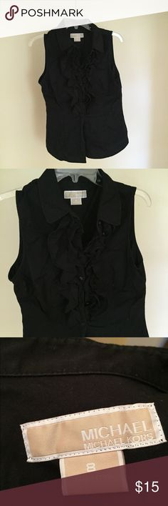 Michael Kors sleeveless button up Black sleeveless button up with cute and classy ruffles. No stains or fraying. Excellent condition. Smoke free. Pet free. Michael Kors Tops Blouses