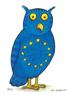 Axel Scheffler's owl is a proposed coat of arms for the EU. Art Deco Artwork, Vintage Artwork, Fallout 3, Axel Scheffler, Girl Faces, Teen Art, Watercolor Video, Animal Activities, Preschool Activities