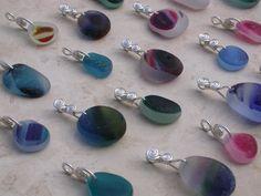 Pendants with multicolored English sea glass www.naturalseaglass.com