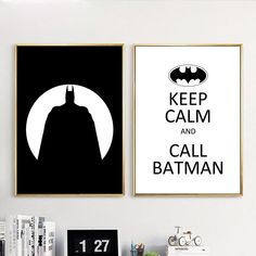 Nordic Style Canvas Print Painting Poster Of Black White Batman Silhouette,Keep Calm And Call Batman Quote Wall Picture,No Frame