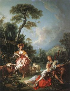 """Painting of the Day!    - Francois Boucher (1703-1770) """"A Summer Pastoral"""", Oil on Canvas, 1749. - To see more works by this artist please click here: http://www.artrenewal.org/pages/artist.php?artistid=366  - Share your favorite old master works with us on our PInterest page! http://www.pinterest.com/ArtRenewal/share-your-favorite-old-master-works/"""