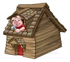 Buy Three Little Pigs Fairy Tale Wood House by Krisdog on GraphicRiver. A cartoon illustration from the three little pigs childrens fairy tale, pig character with his wood house. Pig Character, Paper Puppets, House Illustration, Three Little Pigs, Cute Pigs, Stories For Kids, House In The Woods, Projects For Kids, Painted Rocks
