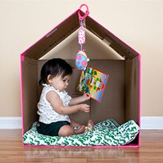 Make your own cardboard house, with bright duct tape!
