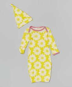 Loving this Yellow Sunflower Organic Gown & Single-Knot Beanie - Infant on #zulily! #zulilyfinds