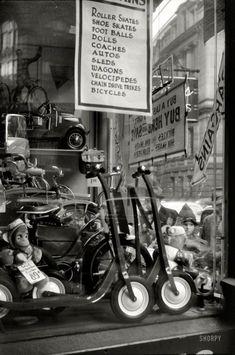 "December 1940, ""Window display for Christmas sale, Providence, Rhode Island."" #vintage #1940s #Christmas"