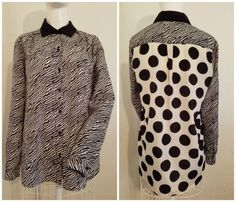 S-Beige-by-ECI-Black-White-Geometric-Polka-Dot-Long-Sleeve-Button-Down-Top-NWOT