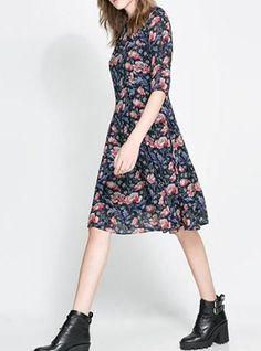 Womens Midi Dress - Floral / Chiffon / High Rounded Neckline