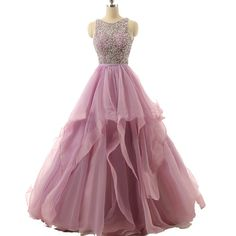 Meilishuo Women's Beaded Quinceanera Ball Gown Prom Dress Long for Evening Party