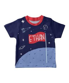 Mondays Child Light Blue & Navy Moon Personalized Tee - Infant, Toddler & Boys | zulily
