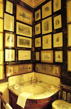 Corner sink. Gallery wall.
