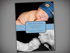 Blue Elegant Baby Boy Printable Baby Birth by elegantprints, $20.00