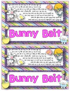 EASTER FUN - BUNNY BAIT SNACK MIX {FUN POEM} AND {BAG TOPPERS} - TeachersPayTeachers.com
