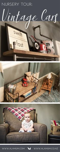 """Looking for the perfect nursery decor for that little man on the way? This """"Vintage Car Nursery"""" is so stylish and so fun for that sweet little one!  