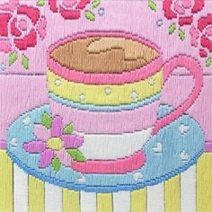 Tea Cup Long Stitch Kit only £16.00 - Past Impressions