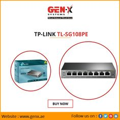Genx Systems brings exclusive offers on TP-Link Buy TP-Link Gigabit Easy Smart Switch at best price available in the market. simple plug-and-play, 8 Gigabit ports including 4 PoE ports, PoE Power supply To order visit us Tp Link, Dubai, Marketing, Play, Simple
