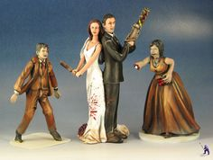 Want something more unique for your special day?  Garden Ninja Studios specializes in original wedding cake toppers for the matrimonial geek.  Whether you'd like to be fighting zombies or dressed in steampunk cybernetics, we'd be happy to convert your dream wedding cake toppers.