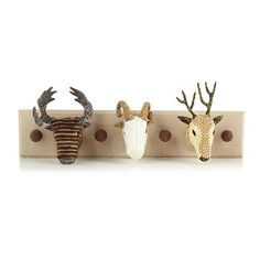 Debenhams Natural animal head wall hooks- at Debenhams.com