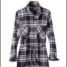 Nwt Flannel Banana Republic shirt dress Black and white plaid shirt dress. NWT and extra buttons. Adorable with tights and boots! Smoke free and pet free home. Banana Republic Dresses Long Sleeve