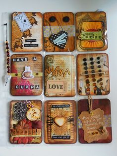 Pocket letter with a brown and gold theme for a swap on swap-bot Atc Cards, Card Tags, Journal Cards, Art Journal Pages, Art Journals, Pocket Pal, Pocket Cards, Pocket Scrapbooking, Scrapbook Cards