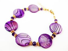 Purple Lover Shell and Amethyst Bracelet by CreativeInclinations, $20.00