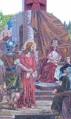 1 Stations of the Cross along the stairs @ Mother Cabrini Shrine Colorado. . Each station is made of stone mosaics made in Italy and depicts the suffering of our divine Lord as He gave His life for our salvation