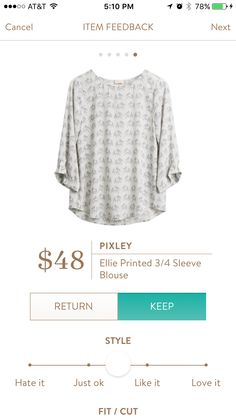Pixley Ellie Printed 3/4 Sleeve Blouse I don't like the color and pattern but the style might work
