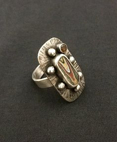 Fordite Citrine and Sterling Silver Ring with hammered