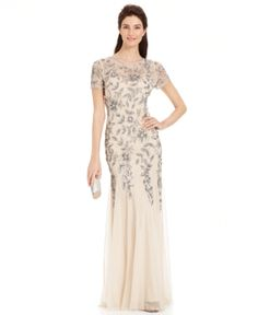 Adrianna Papell Petite Embellished Empire-Waist Gown - Tan/Beige 4P