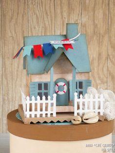 Beach Cottage using Bigz Die Village Dwelling by Tim Holtz