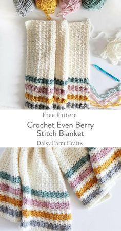 Crochet Even Berry Stitch Blanket - Free Pattern
