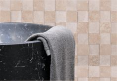 3D checkered stone tile with black marble.
